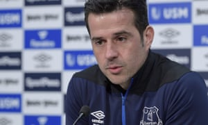 Marco Silva speaking at an Everton press conference at USM Finch Farm