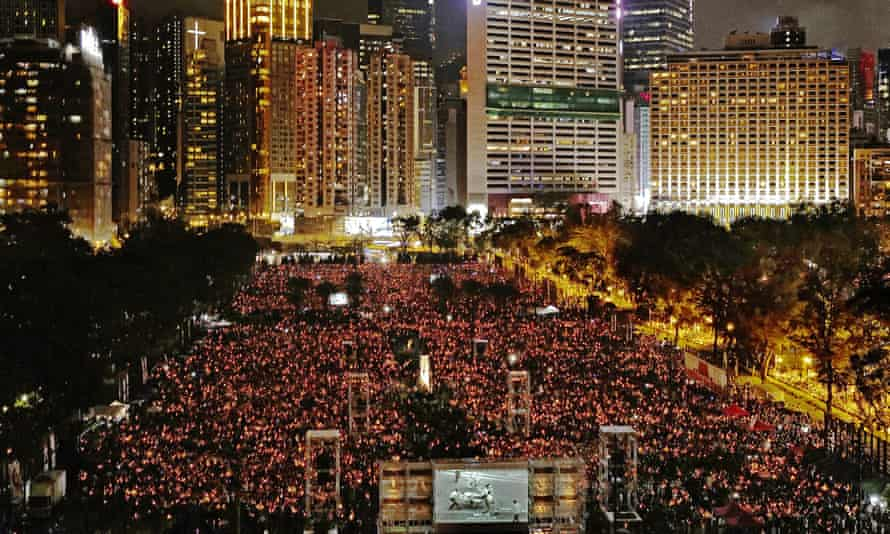 Hong Kong's Victoria park in 2019, when thousands were allowed to mark China's bloody crackdown on the Tiananmen Square pro-democracy protests in 1989.