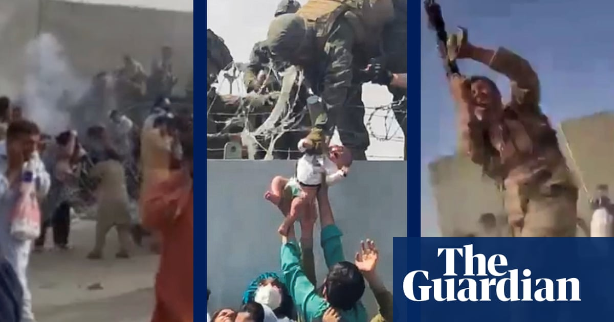 Afghanistan: chaos and gunshots outside Kabul airport during evacuations – video report