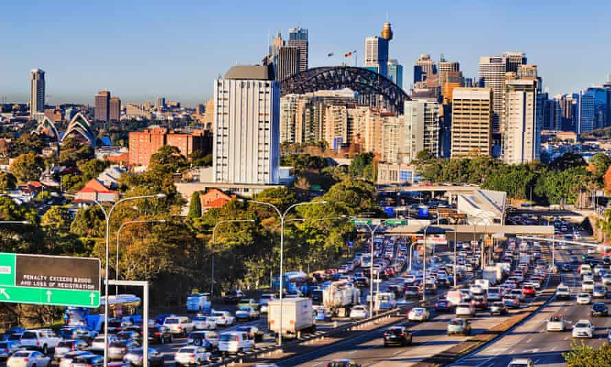 Congested traffic on the Warringah freeway in North Sydney
