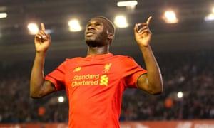 Liverpool's Christian Benteke celebrates scoring against Chelsea