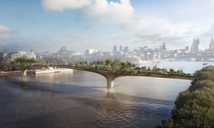 An artist's impression of the proposed garden bridge across the Thames in London.
