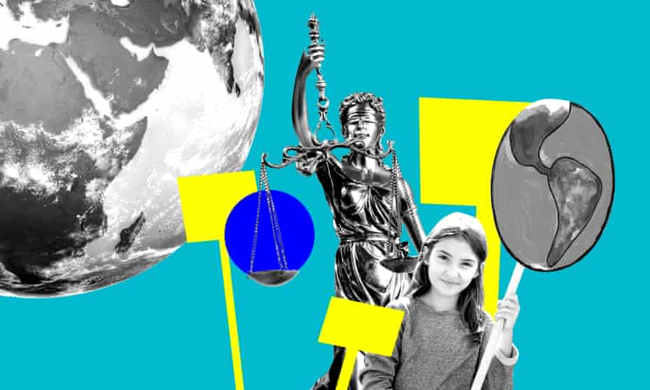 Composite image of a child protesting, a statue of justice and the globe