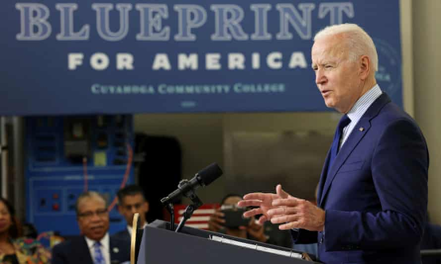 'Now is the time to build the foundation that we've laid, to make bold investments in our families, in our communities, in our nation,' Biden told a crowd in Cleveland, Ohio.