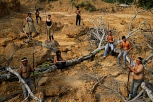 Indigenous people from the Mura tribe in a deforested area in unmarked indigenous lands inside the Amazon rainforest near Humaita.