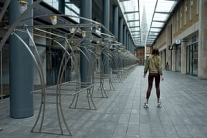 Daria uses the deserted indoor area of London's Spitalfields market to learn to roller-skate