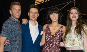 Feng Guo and Ben McMahon (second from left) with friends on the set of If You Are The One