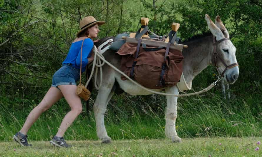 Laure Calamy and reluctant four-legged fellow traveller.