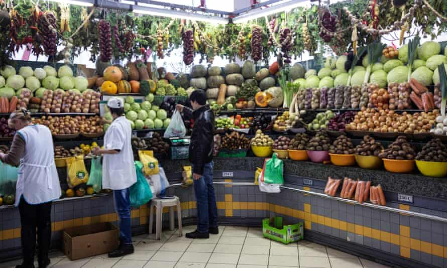 Counters with vegetables and fruits on the Dorogomilovskiy market of Moscow