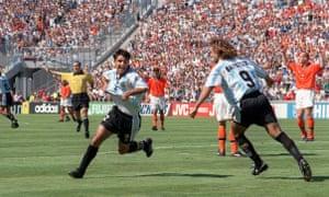 Claudio Lopez celebrates his goal with Gabriel Batistuta.