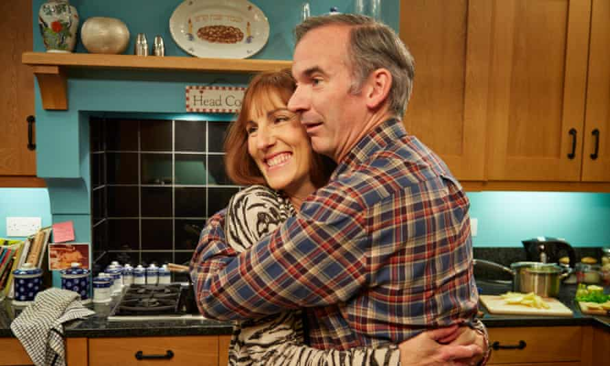 Tamsin Greig and Paul Ritter as Jackie and Martin Goodman in Friday Night Dinner