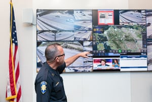 The Pittsburg police captain, Patrick Wentz, at the command center of the Freeway Security Network.