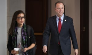 The House intelligence committee chairman, Adam Schiff, arrives for a closed door meeting on Capitol Hill in Washington on Tuesday.