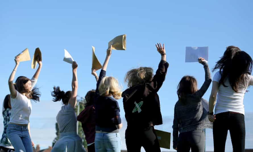 Female students celebrate their A-level results