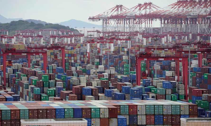 Shipping containers at the Yangshan deep-water port in Shanghai.