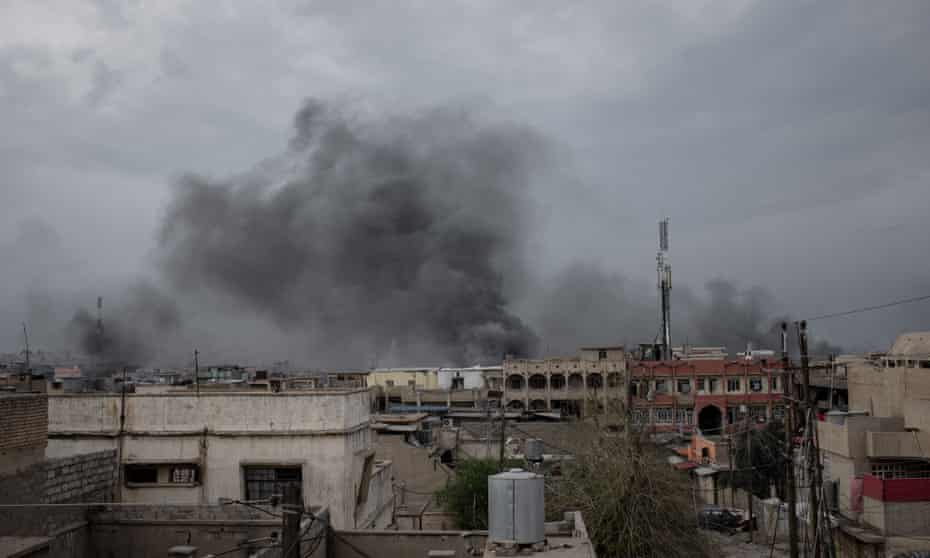 The suspected site of the airstrike in west Mosul on 17 March.