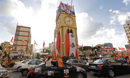 Lebanese people take to the streets in Jdeideh, on the northern outskirts of the capital Beirut, to celebrate the election of former general Michel Aoun as president.