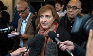 Emma Dent Coad after the first preliminary hearing in the Grenfell Tower public inquiry, at the Connaught Rooms in central London