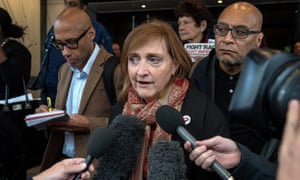 Emma Dent Coad speaking outside the Grenfell Tower inquiry in September.