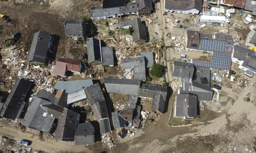 A drone photo shows an aerial view of the completely destroyed buildings at disaster area after severe rainstorm and flash floods hit western states of Rhineland-Palatinate and North Rhine-Westphalia in Schuld, Germany