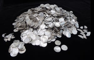 Coins from the Chew Valley hoard. Anglo-Saxon and Norman silver coins, including 70 cut halves and a number of damaged and fragmentary coins. The coins are mainly of the Pax type of Harold II (1066) and the Profile/Cross fleury type of William I (1066-87)