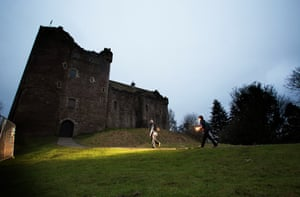Arriving at Doune Castle - which is a favourite roost for pipistrelle bats. It remains a mystery as to where most of Scotland's bat population hibernate