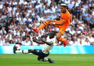 Joelinton, just misses connecting as Davinson clears.