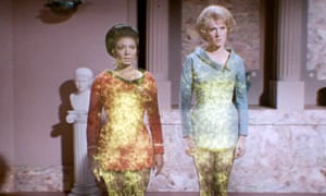 Nichelle Nichols as Uhura and Majel Barrett as Nurse Chapel in the Star Trek episode Plato's Stepchildren – one of many shows only available on US Netflix