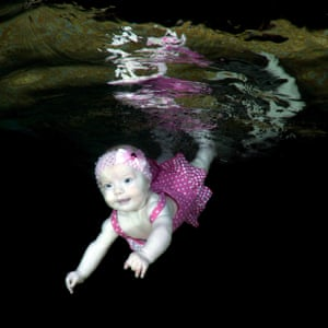 Diving in: baby in the water