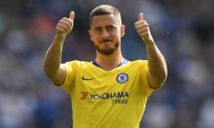 Eden Hazard gestures to supporters after what could prove to be his final Premier League match for Chelsea.