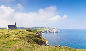 View of the Channel from the cliffs at Etretat, Normandy.