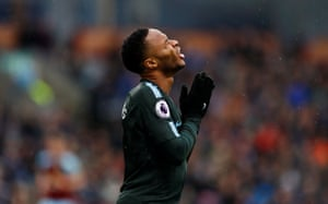 Raheem Sterling reacts after another missed chance.