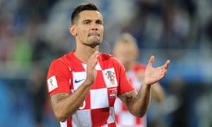 Dejan Lovren applauds the Croatia fans