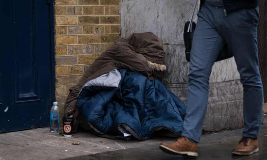 Homeless person in London