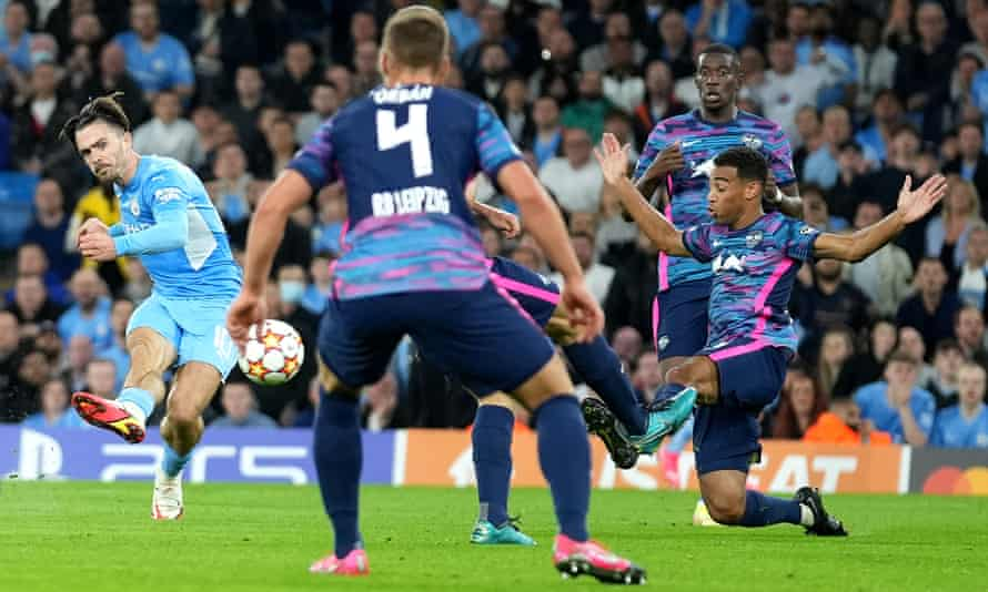 Jack Grealish scores Manchester City fourth goal in their 6-3 victory against RB Leipzig at the Etihad Stadium.