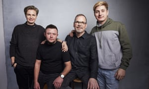 In the US … from left, activists Olga Baranova and Isteev, with David France and Maxim Lapunov.