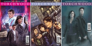 Covers featuring John Barrowman for the new Torchwood series of comics, by Photo Variant, Blair Shedd and Rod Reis.