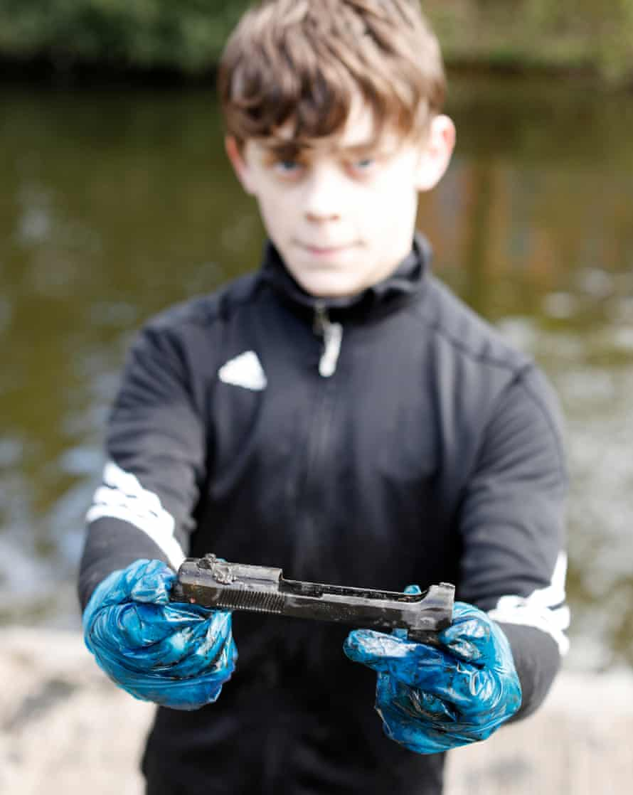 Cole Gartshore, 13 finds part of a pistol in the canal under the Erskine bridge.
