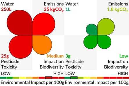 Environmental impact food labels.