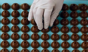 A Lindt & Sprüngli worker at one of the company's Swiss chocolate factories.
