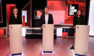 Rebecca Long-Baily, Keir Starmer and Lisa Nandy in the Channel 4 Labour leadership debate, February 2020