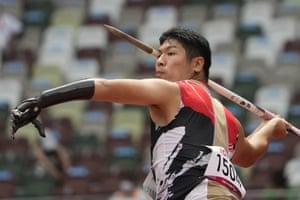 Japan's Takuya Shiramasa on his way to sixth place in the F46 men's javelin.