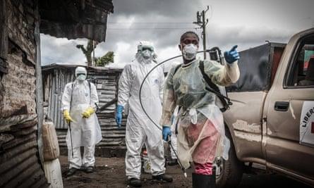 Liberian Red Cross burial team in Monrovia Ebola crisis.