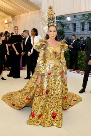 Sarah Jessica Parker undoubtedly made a beeline for Italian designers Dolce & Gabbana when the religious theme of this year's Met Gala – Heavenly Bodies: Fashion and the Catholic Imagination – was announced. Her sumptuous gold gown was topped off with an elaborate and slightly wobbly nativity-scene headpiece.