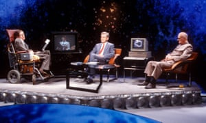 Stephen Hawking, Magnus Magnusson and Arthur C Clarke on set on ITV's Masters of the Universe