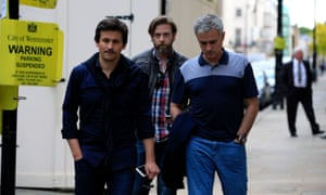 Jose Mourinho (right) and Rui Faria (left) pictured near Mourinho's London home this afternoon.