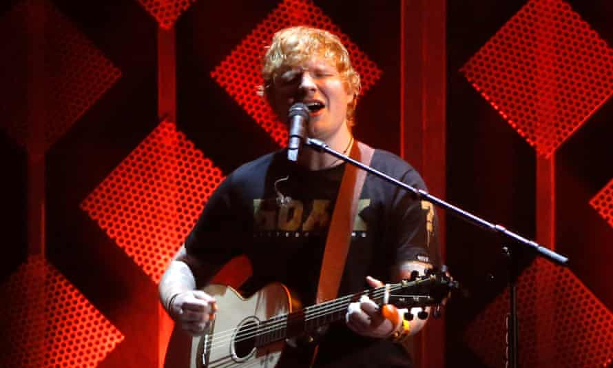 Sheeran performing at The Forum in Inglewood.