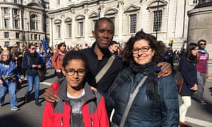 Fiamette Porri (right) with her husband Donald Thompsonand daughter Chiara at the Unite for Europe march.