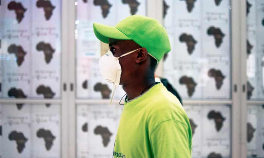 A man wears a mask while shopping in Johannesburg.
