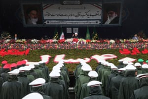 Iran's president, Hassan Rouhani, speaks during a ceremony to mark the anniversary